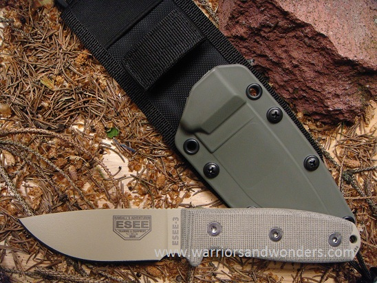 ESEE 3PM-MB-DT Desert Tan, Rounded Pommel, Green Sheath w/ MOLLE