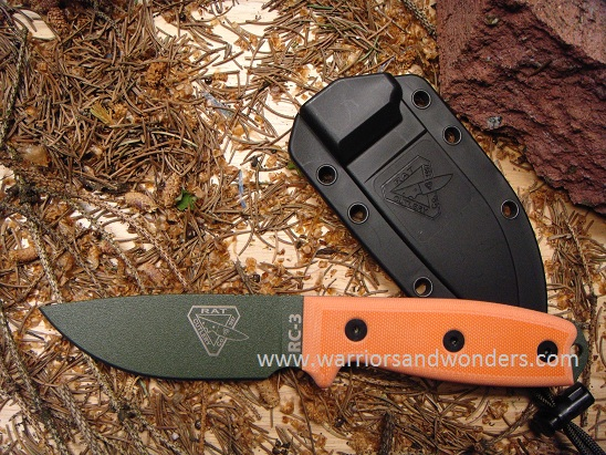 ESEE 3PM-OD Green Plain Edge Rounded Pommel, Black Sheath