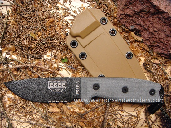 ESEE 3SM Black Blade Serrated, Rounded Pommel, Brown Sheath