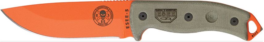 ESEE 5P-OR Orange Plain Edge, Micarta Handle, Black Kydex Sheath