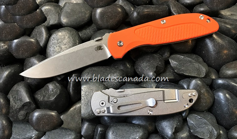 Hinderer Firetac Spearpoint Stonewash - Orange G10