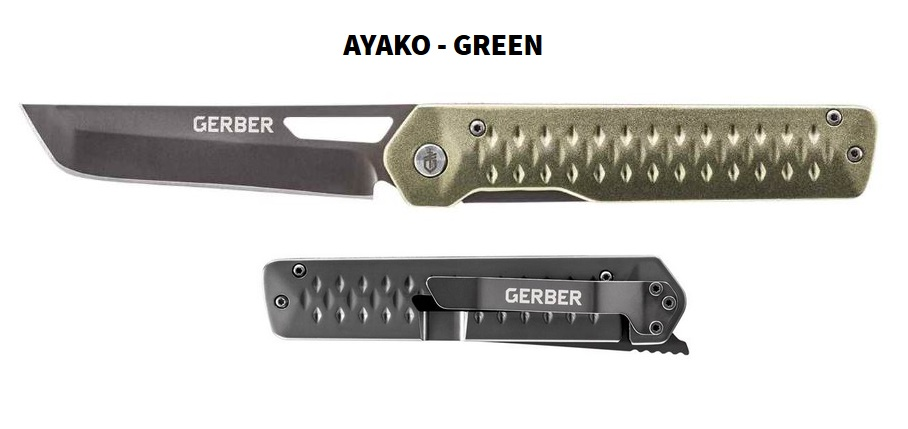 Gerber Ayako, Green Aluminum Handle Folding Knife, G1690