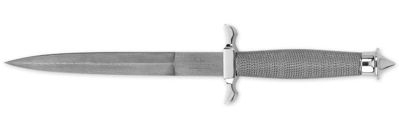 Gil Hibben 441D Silver Shadow Damascus W/ Leather Sheath
