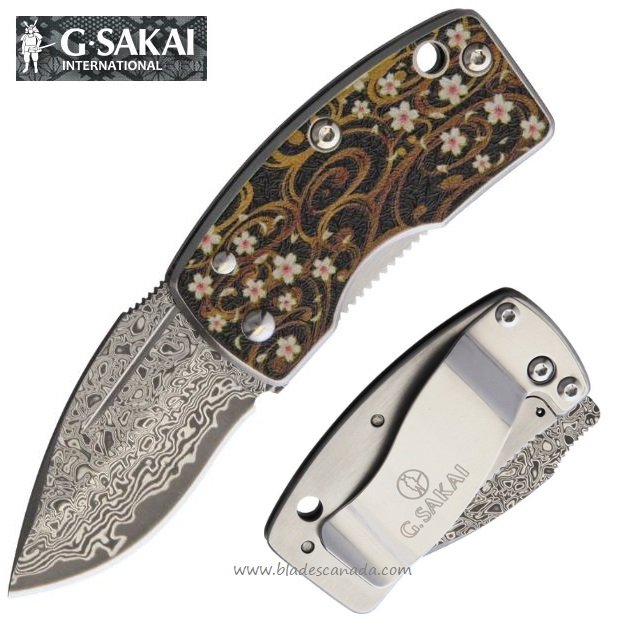 G. Sakai Knives Money Clip Floral Framelock, Damascus Steel, GS11609