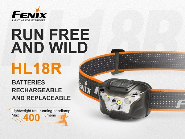Fenix HL18R Rechargeable Running Headlamp - 400 Lumens