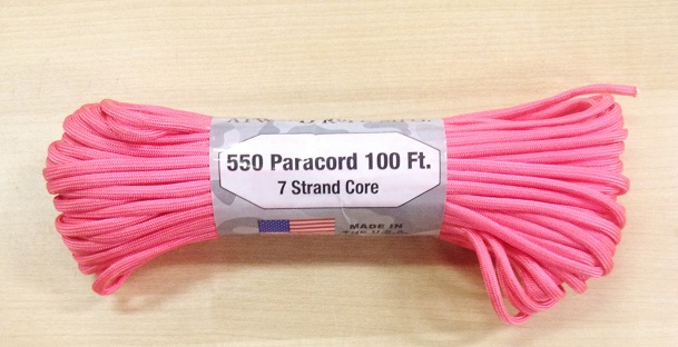 550 Paracord, 100Ft. - Hot Pink