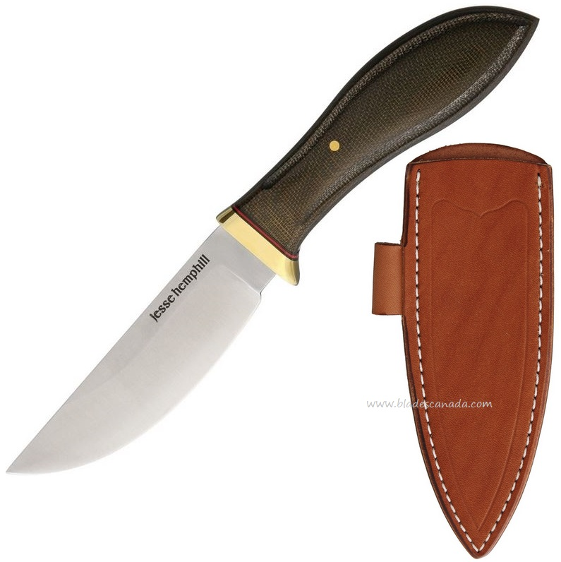 Jesse Hemphill Point Rock Green Canvas Micarta, A2 Steel, Brown Leather Sheath, JH001G