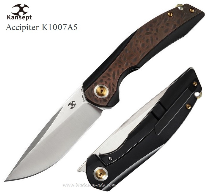 Kansept Knives Accipiter Framelock Front Flipper, S35VN, Black Ti Handle w/Black Copper inlay, K1007A5