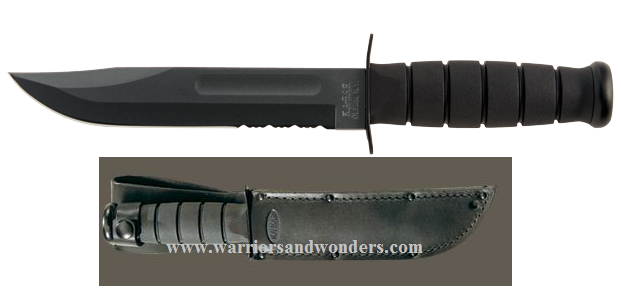 Ka-Bar 1212 Black Serrated Knife With Leather Sheath