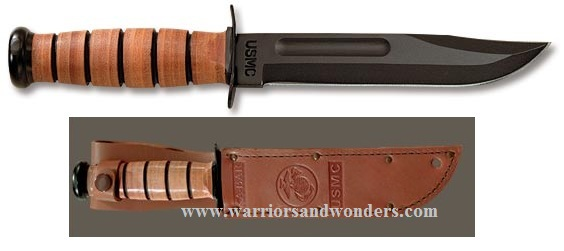 Ka-Bar 1217 U.S.M.C. Straight Edge Knife W/ Leather Sheath