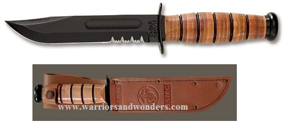 Ka-Bar 1252 Short USMC Serrated w/Leather Sheath