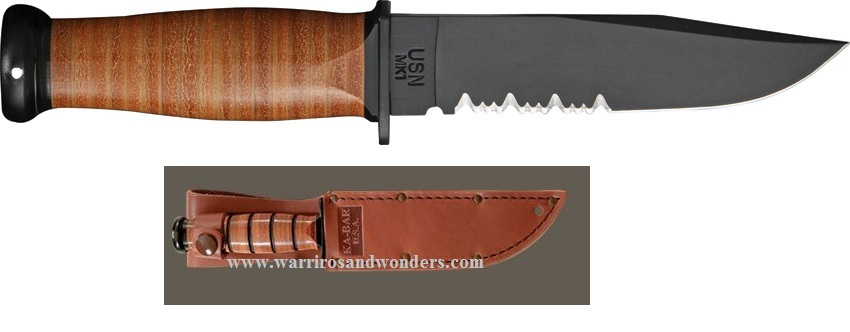 Ka-Bar 2226 Mark 1 Leather Handle Partially Serrated