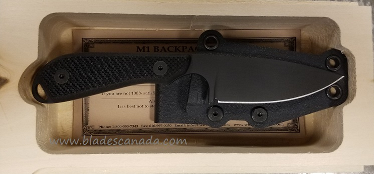 White River M1 Backpacker Pro Black S35VN, Black G10 w/Kydex