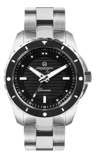 Melbourne Sorrento Dive Watch Steel Bracelet - Black