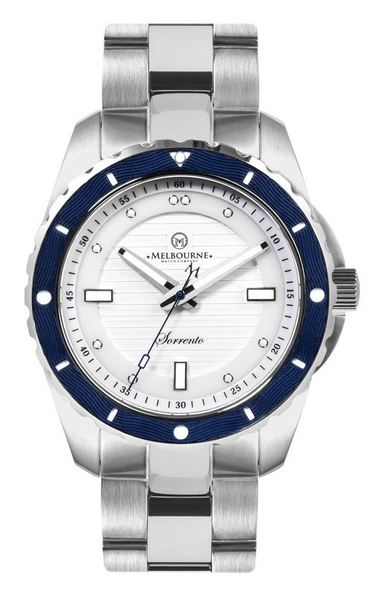 Melbourne Sorrento Dive Watch Steel Bracelet - White