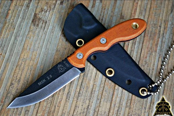 TOPS MSK2.5 Mini Scandi Knife 2.5 w/Kydex Sheath