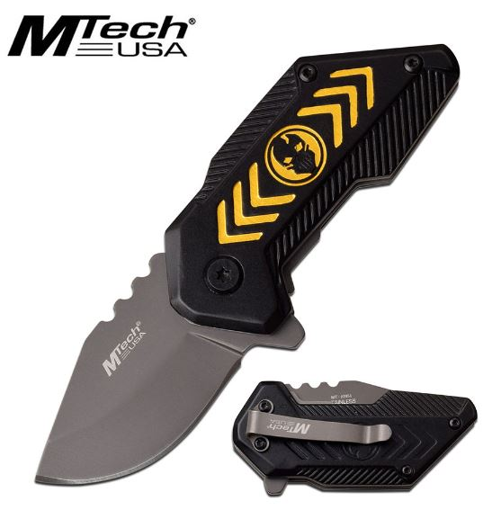 Mtech Knives Flipper Folding Knife, Black/Yellow Aluminum Handle, Assisted Opening, MTA1051YL