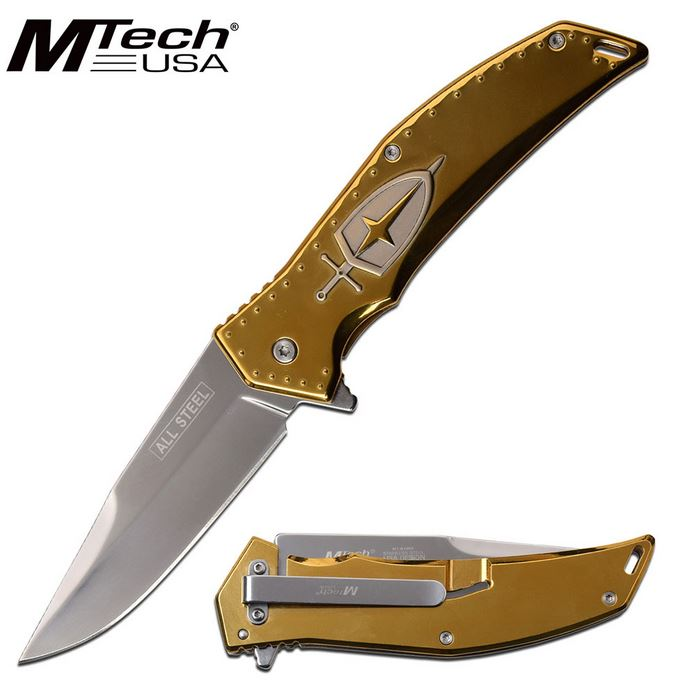 Mtech Knives Flipper Framelock Folder, Stainless Handle, Assisted Opening, MTA1096BZ