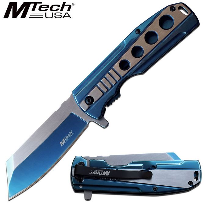 Mtech Knives Flipper Framelock Folder, Blue Stainless Handle, Assisted Opening, MTA1107BL