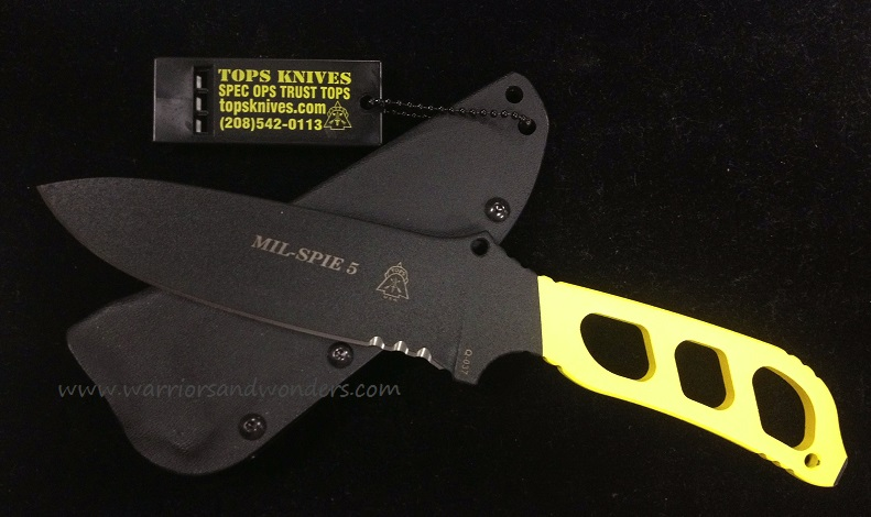 TOPS MIL05CY Mil-Spie 5 w/ Kydex Sheath - Yellow