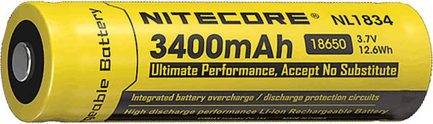Nitecore 18650 Rechargeable Battery NL1834 - 3400 mAh