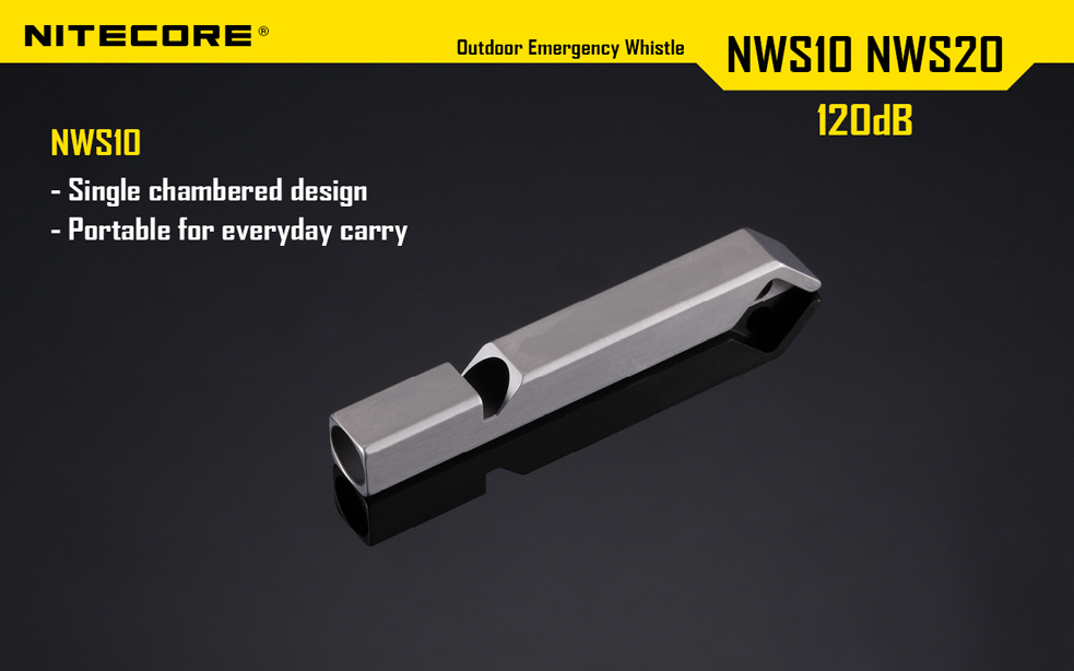 Nitecore NWS10 Emergency Titanium Whistle - 120dB