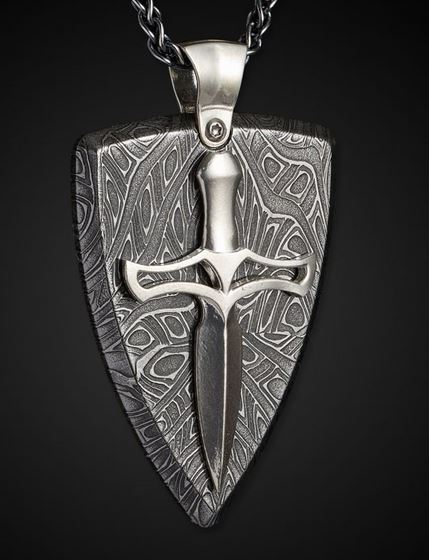 William Henry P32 Damascus Joust Pendant