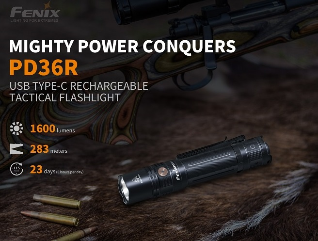 Fenix PD36R Rechargeable Flashlight - 1600 Lumens