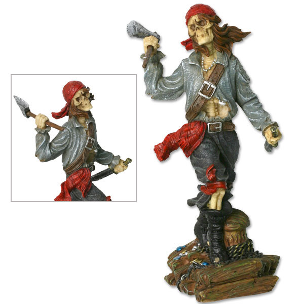 "MC PL514 Skull Pirate with Axe Figurine 6"" Overall (Online Only)"