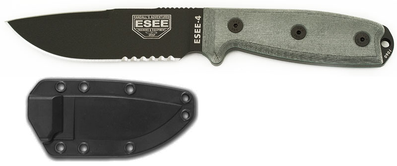 ESEE 4S-CP Black Blade Serrated Clip Point, Brown Molded Sheath
