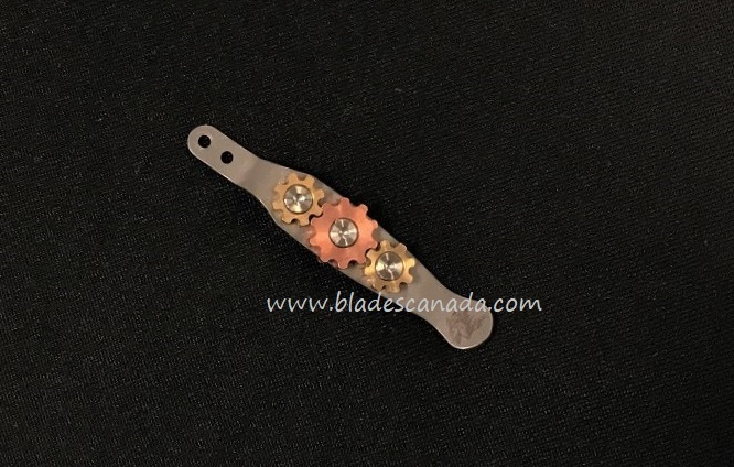 Hinderer Knife Gears Clip Working Finish- Brass & Copper Gears