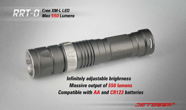 JETBeam RRT0 Raptor Flashlight 550 Lumens - Smooth Reflector