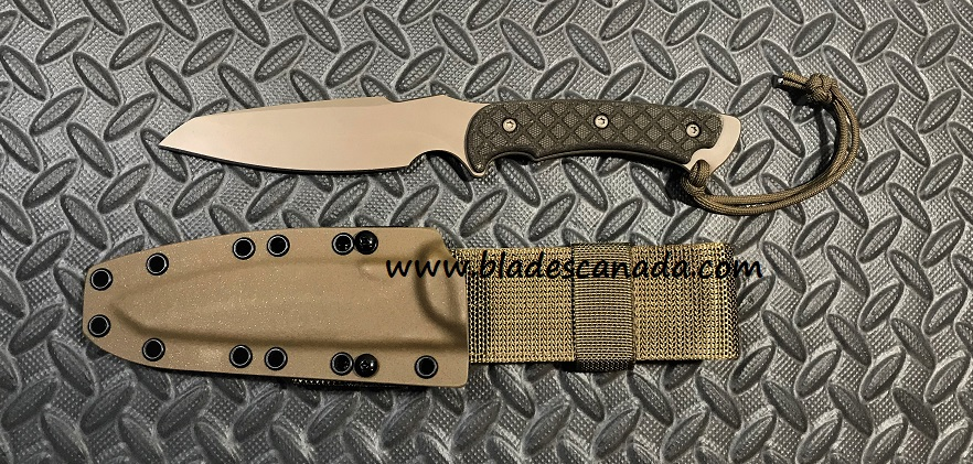 Spartan Blades Hybris FDE - Tan Kydex Sheath - Green Micarta