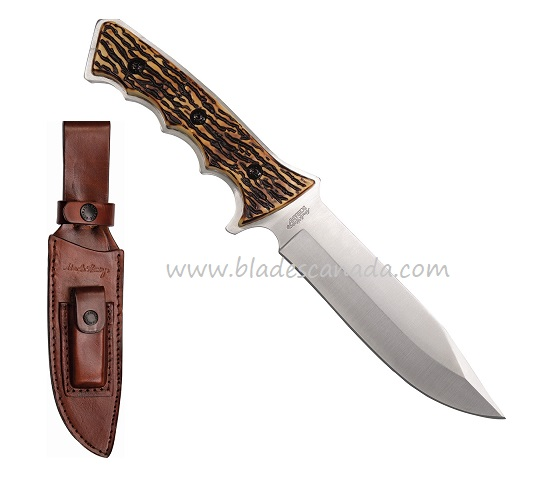 Uncle Henry 1085939 Faux Stag Handle w/ Leather Sheath (Online)