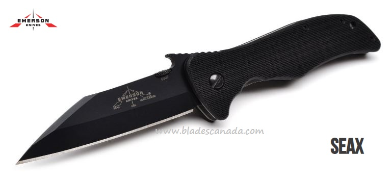 Emerson Knives Seax Partially Serrated, All Black, 154CM, G10