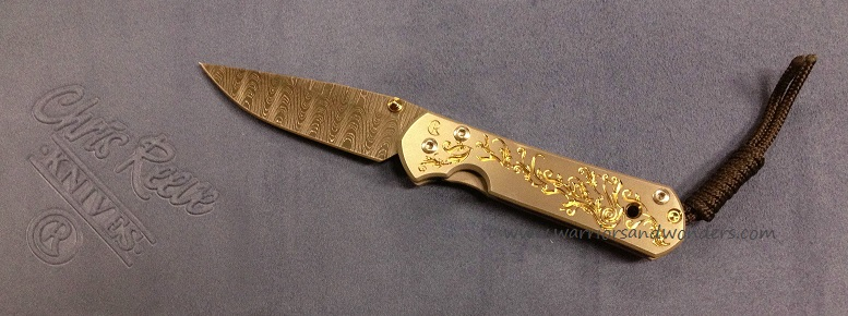 Chris Reeve Small Sebenza 21 Ladder Damascus - CGG Gold Leaf