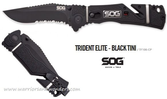SOG TF106 Trident Elite Black TiNi Assisted Opening