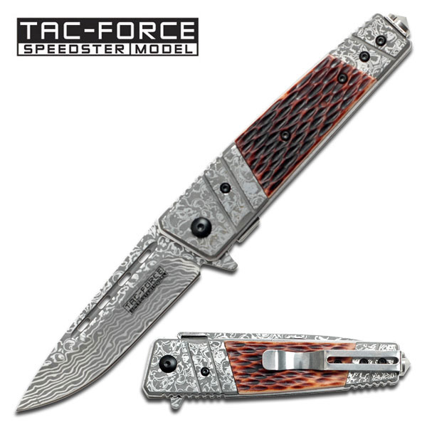 Tac Force TF704BN Damascus Etched - Bone (Online Only)