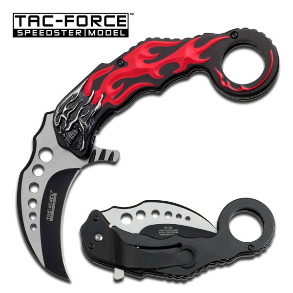 Tac Force TF747RD Red Flame Skull Assisted (Online Only)