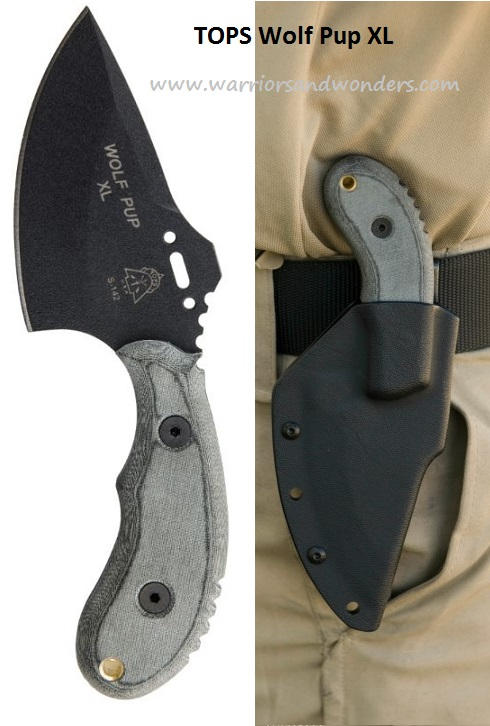 TOPS WP011 Wolf Pup XL w/Kydex Sheath