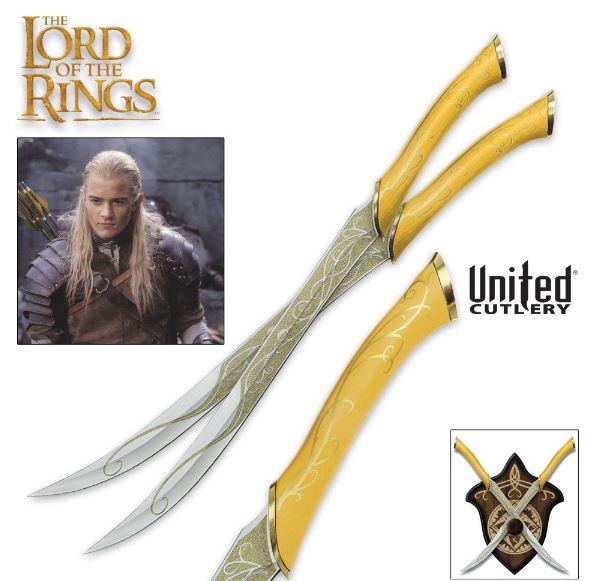 United LOTR 1372 Fighting Knives Of Legolas w/Plaque