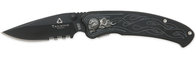 United Cutlery 2690S Tailwind Nova Skull Black W/ Serration