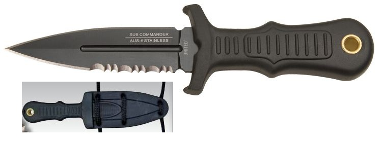 United Cutlery Combat Commander Mini Boot Knife Black w/Sheath