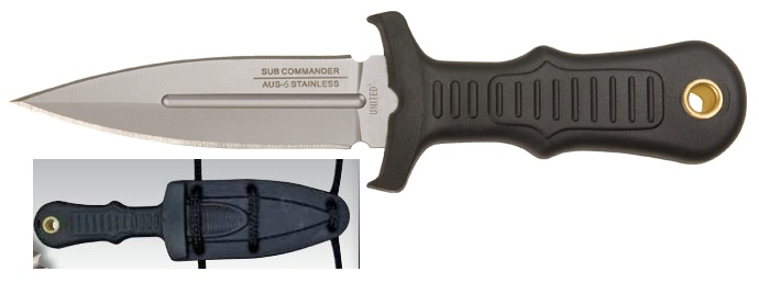United Cutlery Combat Commander Mini Boot Knife Silver w/Sheath