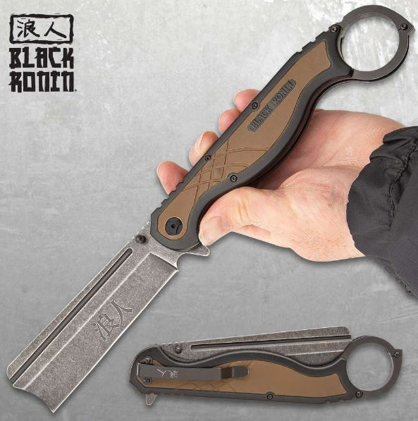 "UC Black Ronin Straight Razor Folding Knife, 11.5"" Overall, Assisted Opening, UC3416"