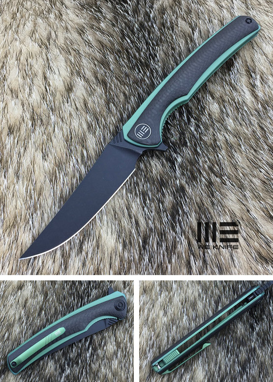 WE Knife 704CFH Flipper M390 Titanium Green & Carbon Fiber
