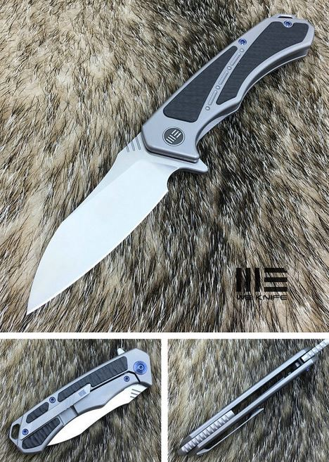 WE Knife 801D Minitor M390, Carbon Fiber /Grey Ti