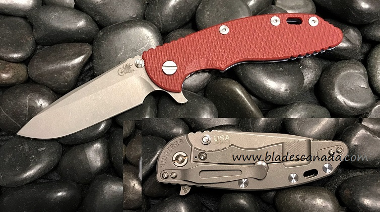 Hinderer XM-18 3.5 Gen 6 Spearpoint Working Finish- Red G-10