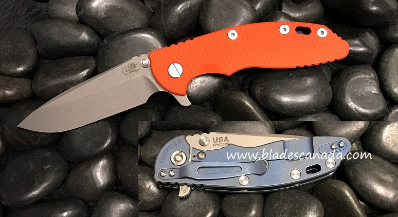 Hinderer XM-18 3.5 Gen 6 Spearpoint WF - Battle Blue/ Orange G-10