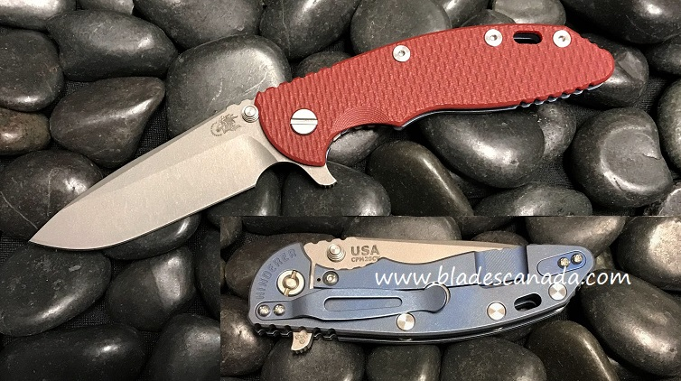 Hinderer XM-18 3.5 Gen 6 Spearpoint WF - Battle Blue/ Red G-10